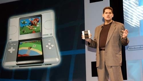 Fils-Aime unveiling the original DS at E3 in 2004. Photo from Bob Riha, Jr./Nintendo